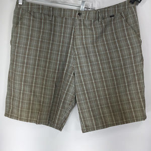 Hurley 40 Brown Blue Plaid Shorts